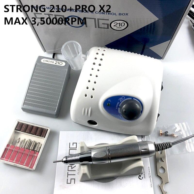 2019 nova forte 210 caixa de controle 35000rpm handpiece pro x2 65 w prego brocas manicure máquina pedicure elétrica arquivo bits