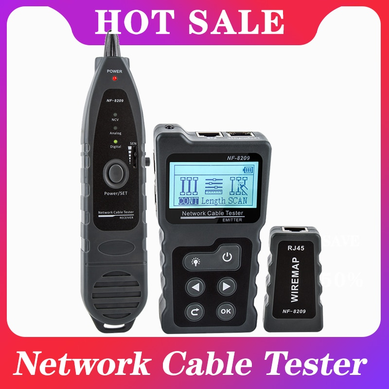 NF-8209 LCD Display Measure Length Lan Cable POE Wire Checker Cat5 Cat6 Lan Test Network Tool Scan Cable Wiremap Tester nf 8601 multi functional network cable tester lcd cable length tester breakpoint tester english version