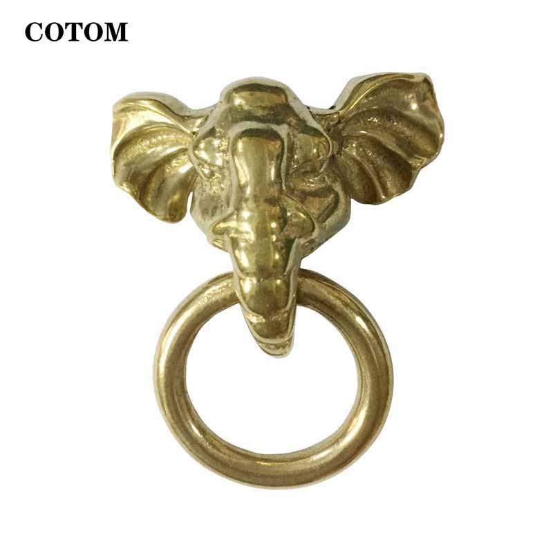 1 قطعة النحاس صغيرة الفيل الجبهة مطرقة الباب اليدوية الحيوان الباب مقبض حديقة المنزل الديكور