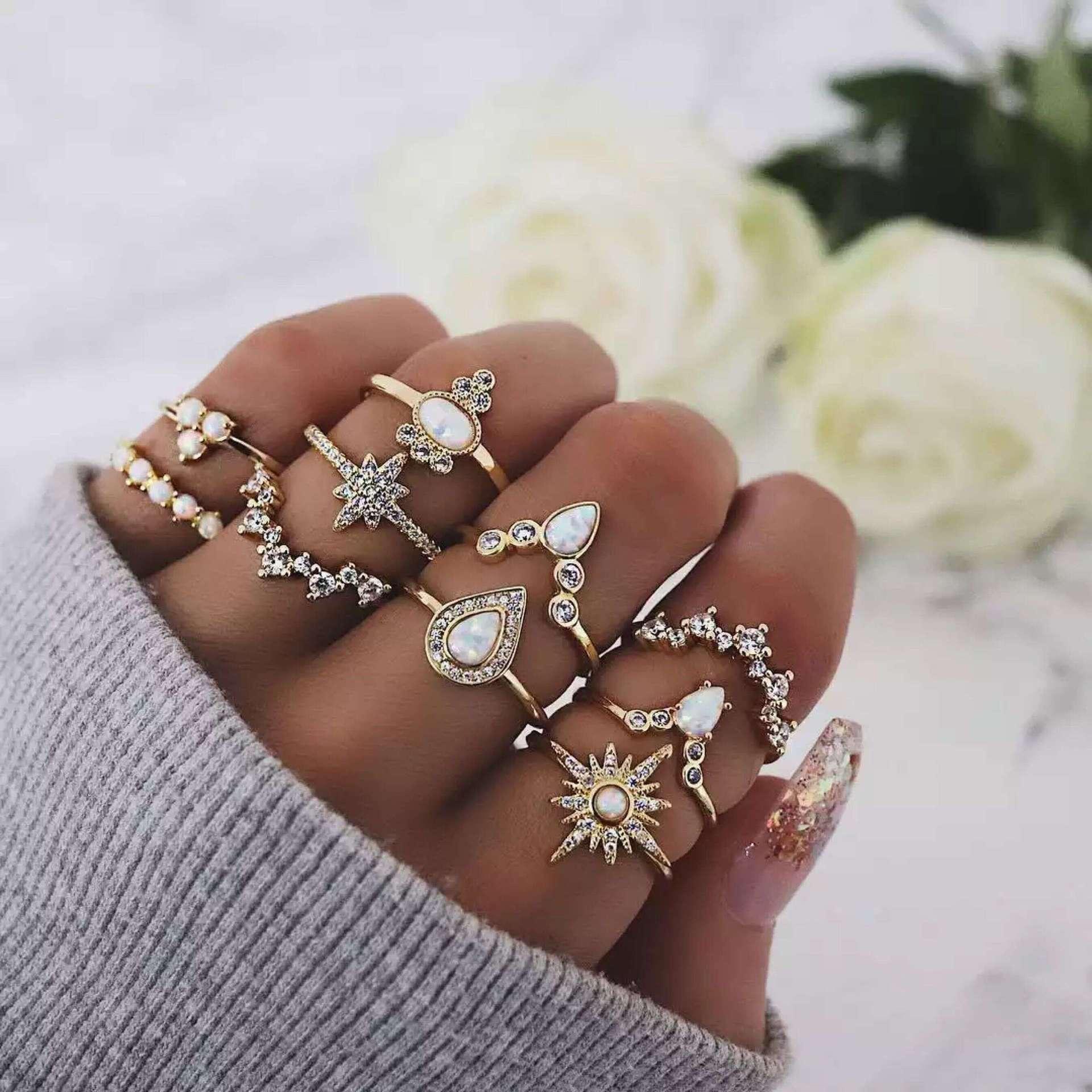 10 unids/set anillo de dedo Midi con gotas de agua cristalina estrellas Retro bohemias para mujer regalo de aniversario de boda RJ-290