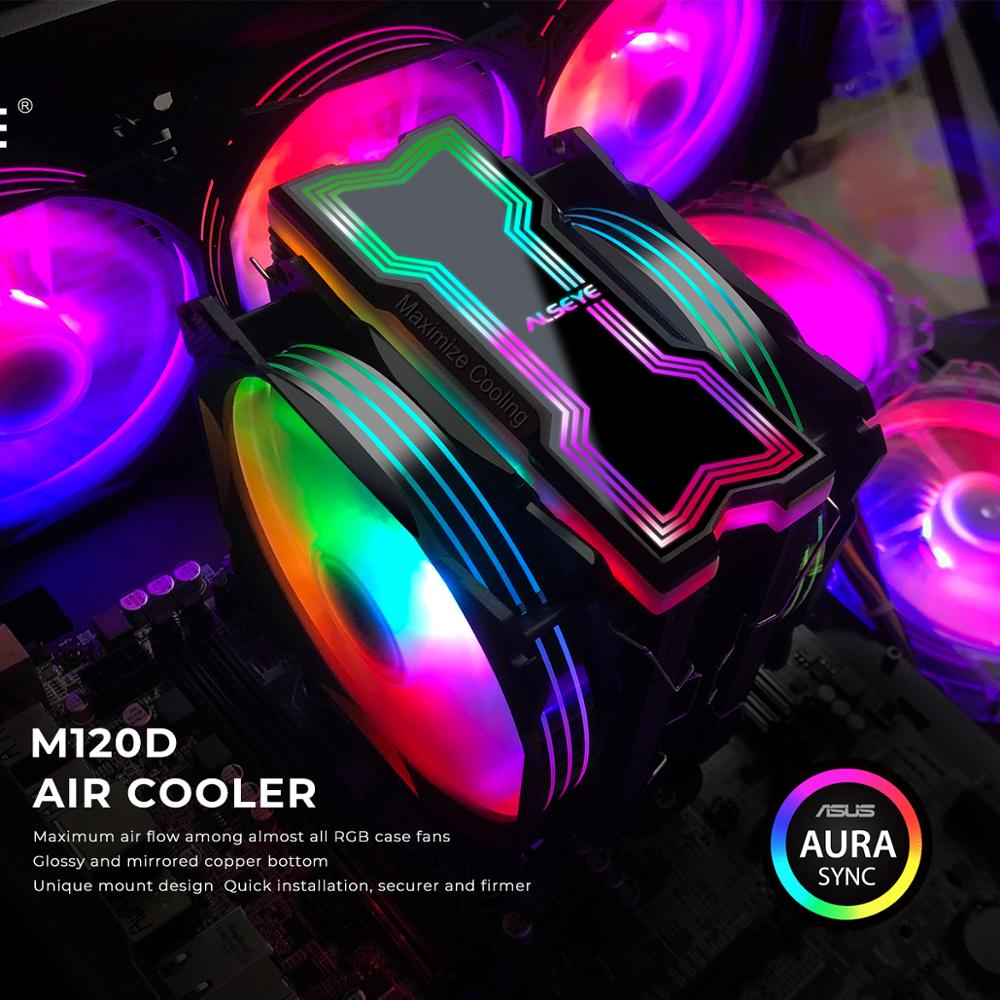 ALSEYE M120D CPU برودة قابل للتعديل مصابيح يندمج بها اللون الأحمر والأخضر والأزرق 120 مللي متر PWM 4 دبوس دعم 5V-3pin هالة/RGB الانصهار الحرارة الأنابيب برود...