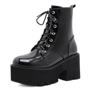 New Arrival Woman Shoes Lace Autumn Boots Womens Ladies Chunky Wedge 5cm Platform Black Patent Leather Ankle Boots Big Size 42