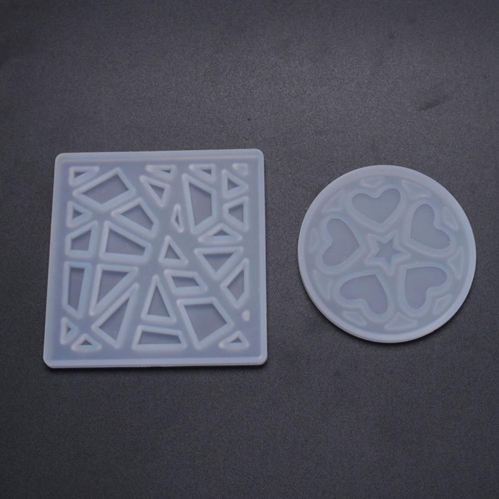 Moldes de posavasos entrelazados de silicona Moldes de resina epoxi con forma de cuadrado redondo, moldes rebanada de ágata geoda para fabricar posavasos, alfombrillas, novedad
