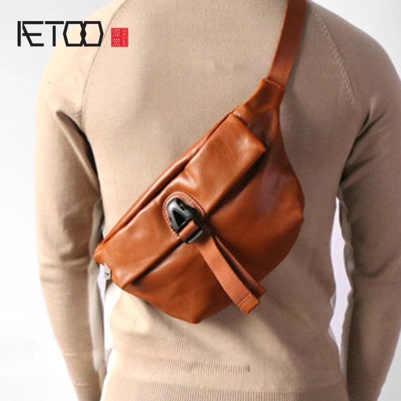 aetoo the first layer of leather 2017 new korean version of the small handbag female hard section leather black wild fashion kel AETOO The first layer of leather retro fashion chest bag leather cross-body shoulder shoulder bag small men's bag