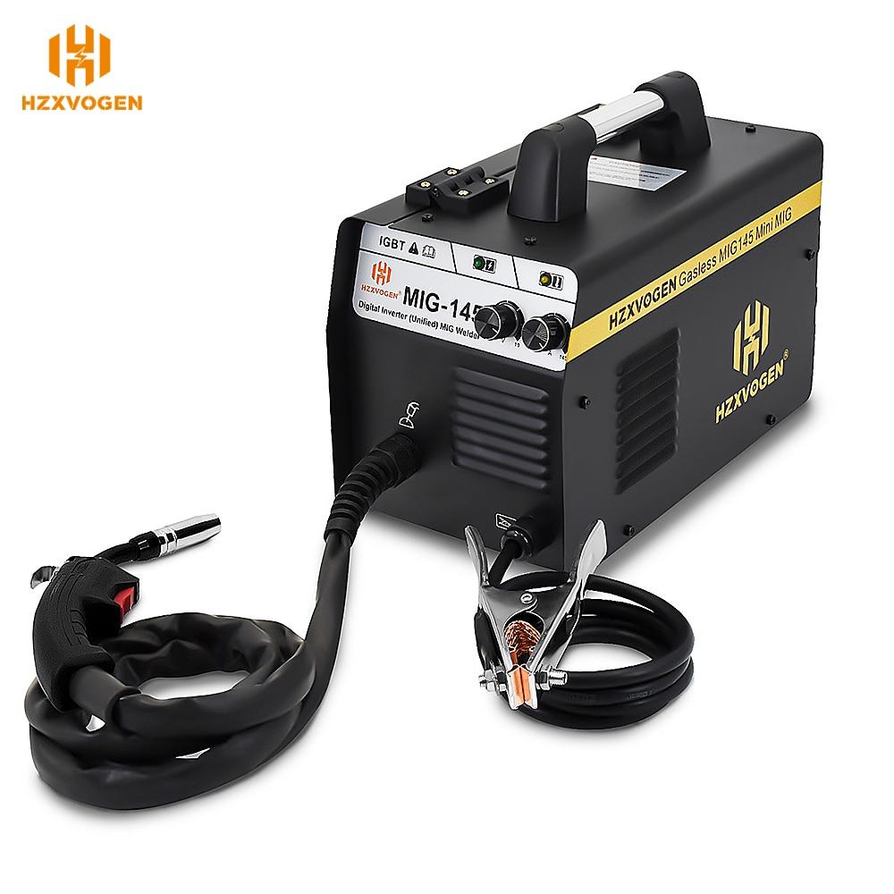 220V HZXVOGEN Mig Welder MIG145 No Gas Gasless Welding Machine Fit 0.6/0.8mm Flux Core 0.8-4mm Thickness For Iron Soldering