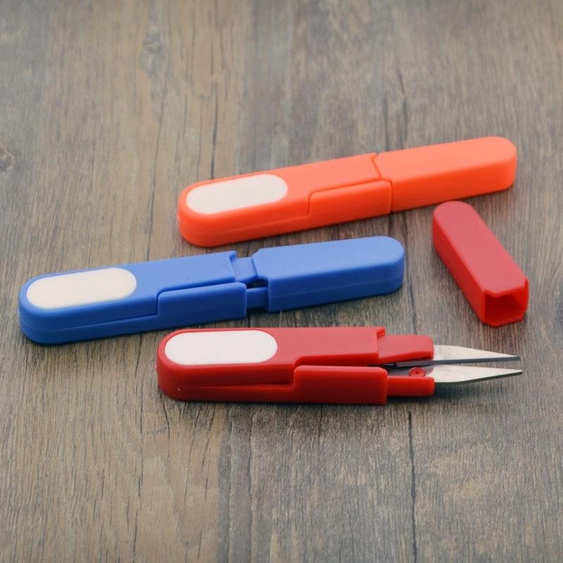 Tijeras de corte de tijeras de hilo de coser bordado de punto de cruz punto seguro cubierta cortador de plástico pequeña portátil U tijeras con forma