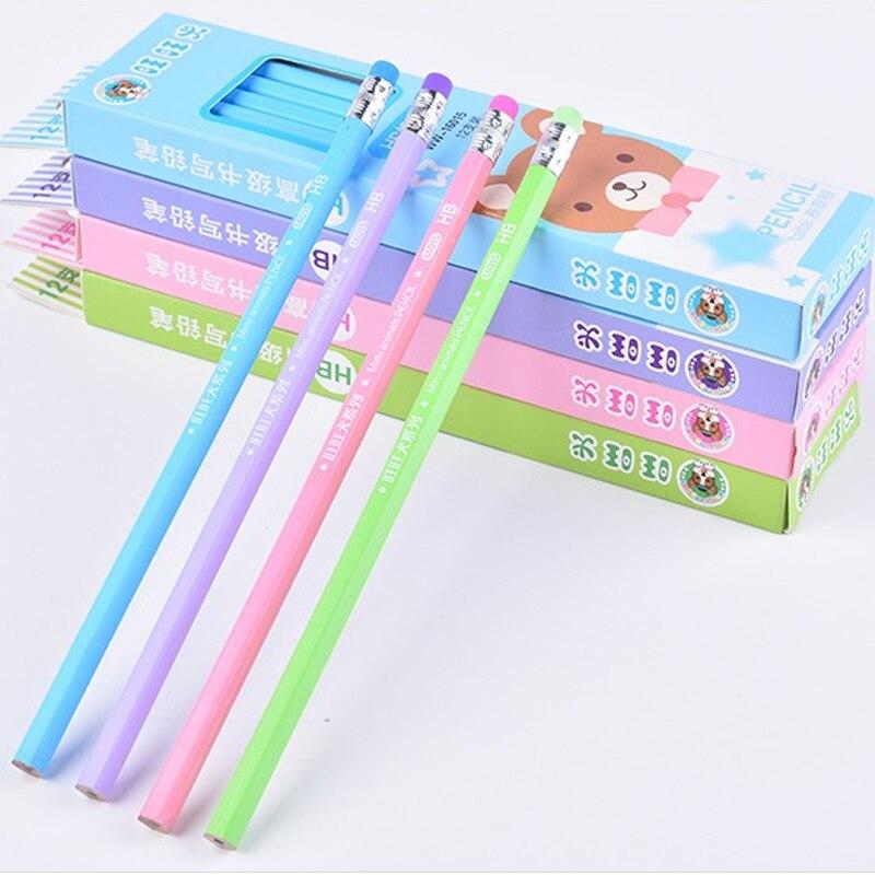 12 unids/pack papelería coreana creativo de dibujos animados tres diseño HB lápiz de madera papelería regalos para útiles escolares para niños