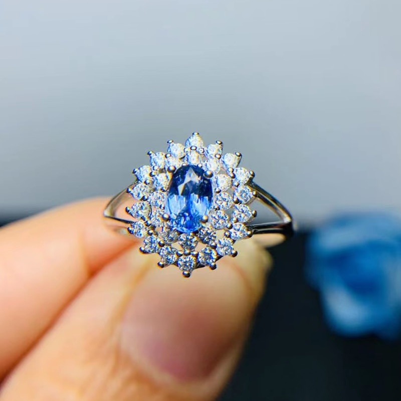 CoLife Jeweley الكلاسيكية الياقوت خاتم الزواج 4 مللي متر * 6 مللي متر الطبيعية الياقوت خاتم لارتداء اليومي 925 الفضة الياقوت مجوهرات
