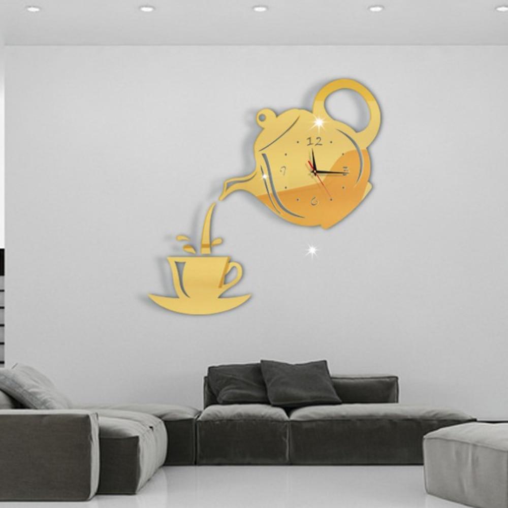 Reloj creativo taza de acrílico para café tetera reloj pared espejo decorativo sala comedor decoración del hogar Reloj de pared