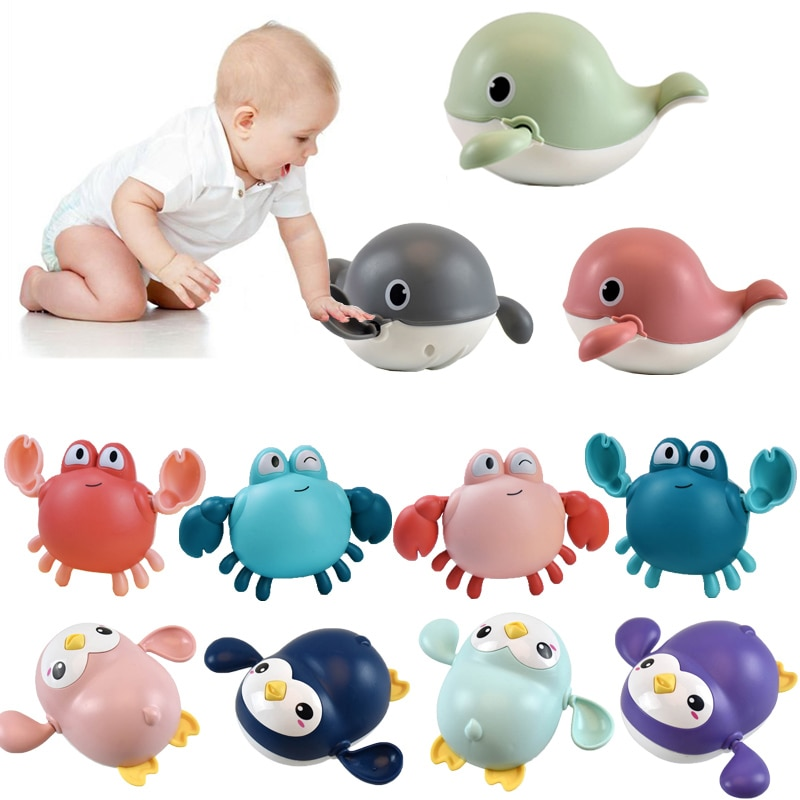 Baby Bath Toys Animal Cute Cartoon Tortoise Crab Classic Baby Water Toy Infant Swim Chain Clockwork Toy For Kid 2021 Newest