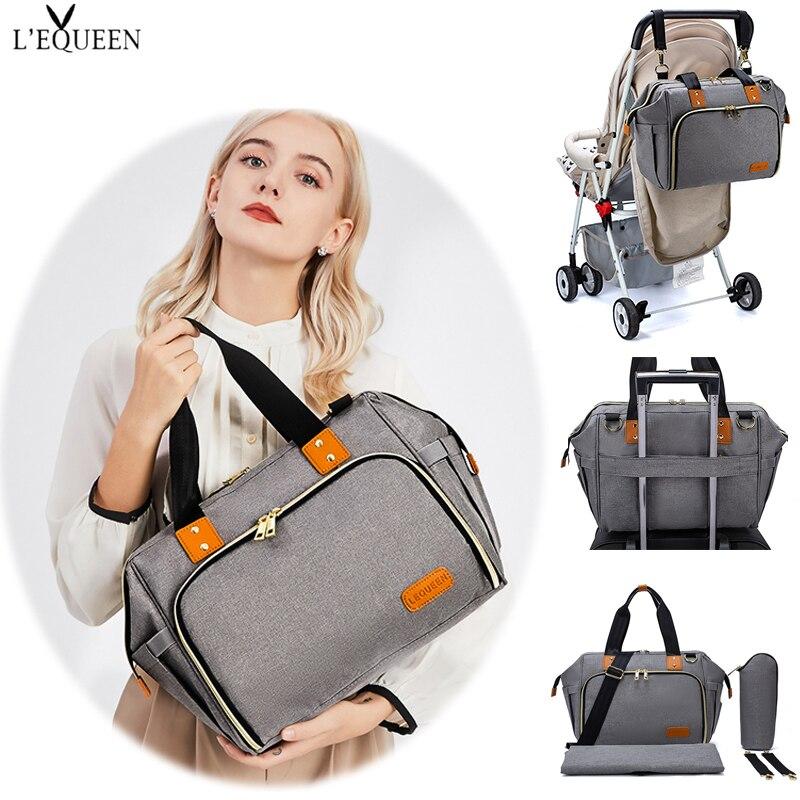LEQUEEN متعددة الوظائف المحمولة حفاضات حقيبة السفر كبيرة حقائب كتف سرير بيبي حفاضات تغيير الجدول منصات للخارجية رعاية الطفل