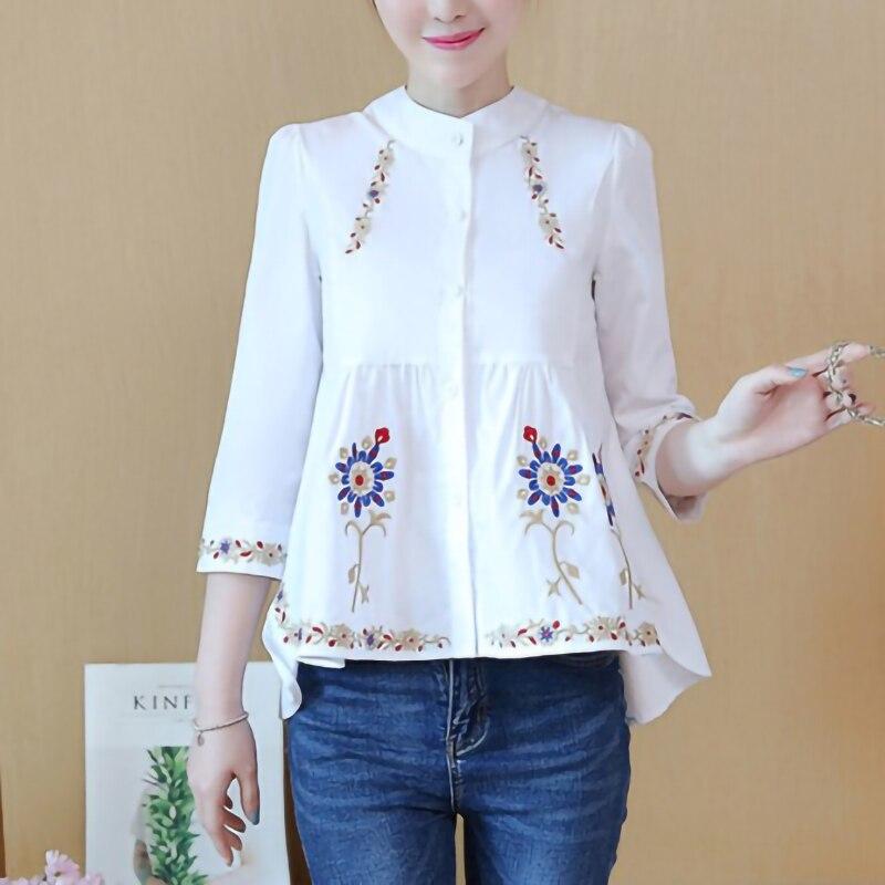 Camisa con botones blanca, Túnica de algodón de 100% con bordado étnico para mujer, blusa informal holgada de manga 3/4 para mujer
