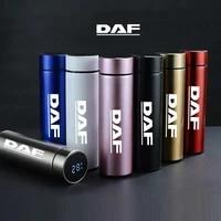 500ml intelligent display temmperature engraving car logo stainless steel vacuum water cup for daf xf cf lf van logo coffee mug