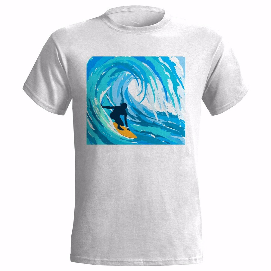 Camiseta SURFER WAVES ART para hombre, camiseta para SURF, SURF, deporte acuático, regalo de WIPEOUT, Camiseta ajustada de talla grande