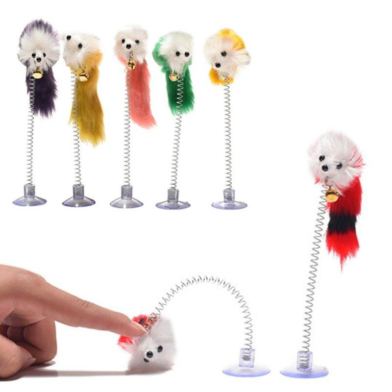 Juguetes de plástico de colores aleatorios para gatos, forma de ratones divertidos...
