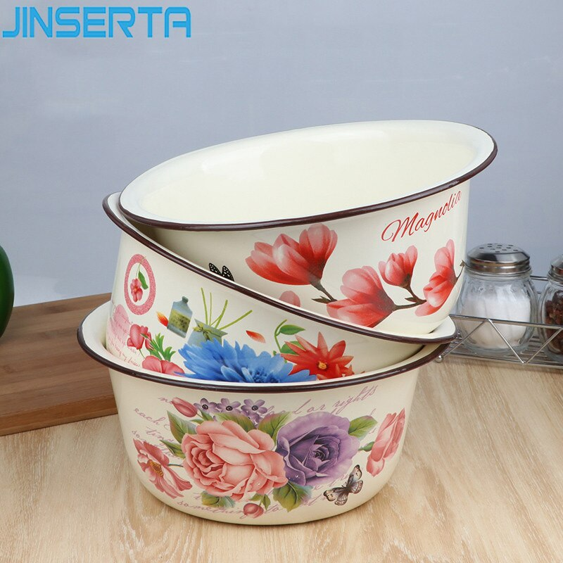 JINSERTA-وعاء سميك من المينا ، طبق سلطة عتيق الطراز ، سعة كبيرة ، مناسب لثلاجة المطبخ ، لتخزين الطعام بغطاء