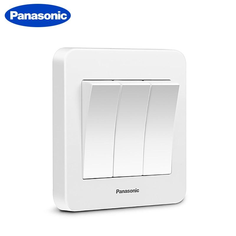 Panasonic 1/2/3/4 Gang 2 Way Push Button Switch Panel Wall Interruptor White PC Frame Panel Light Switch On/Off Wall Switch