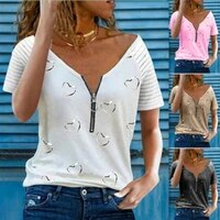 womens printed t shirt v neck zipper casual loose short sleeve top summer fashion sexy plus size clothing