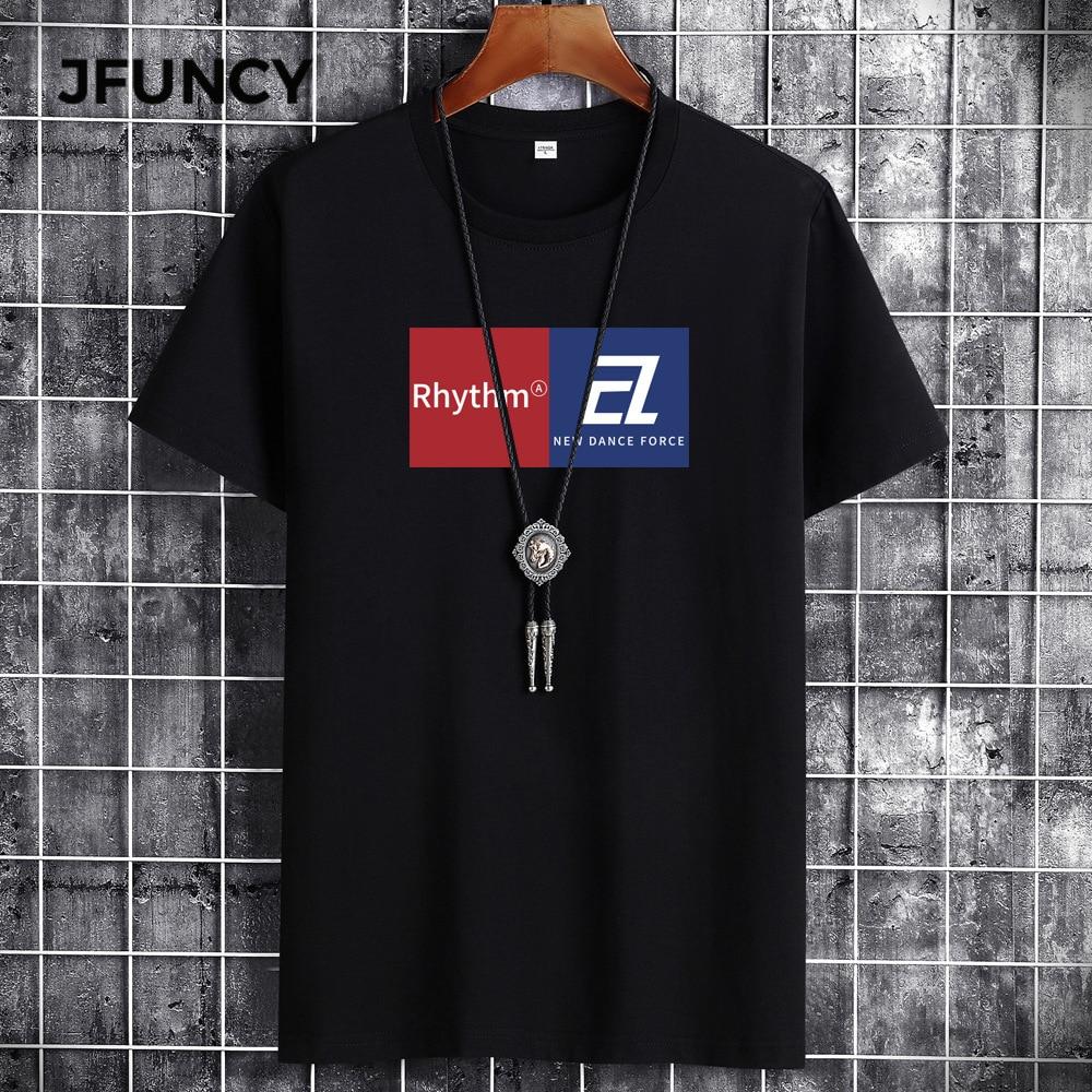 JFUNCY 2021 Мужская футболка оверсайз летняя хлопковая Футболка мужская повседневная свободная футболка с буквенным принтом Мужские дышащие то...