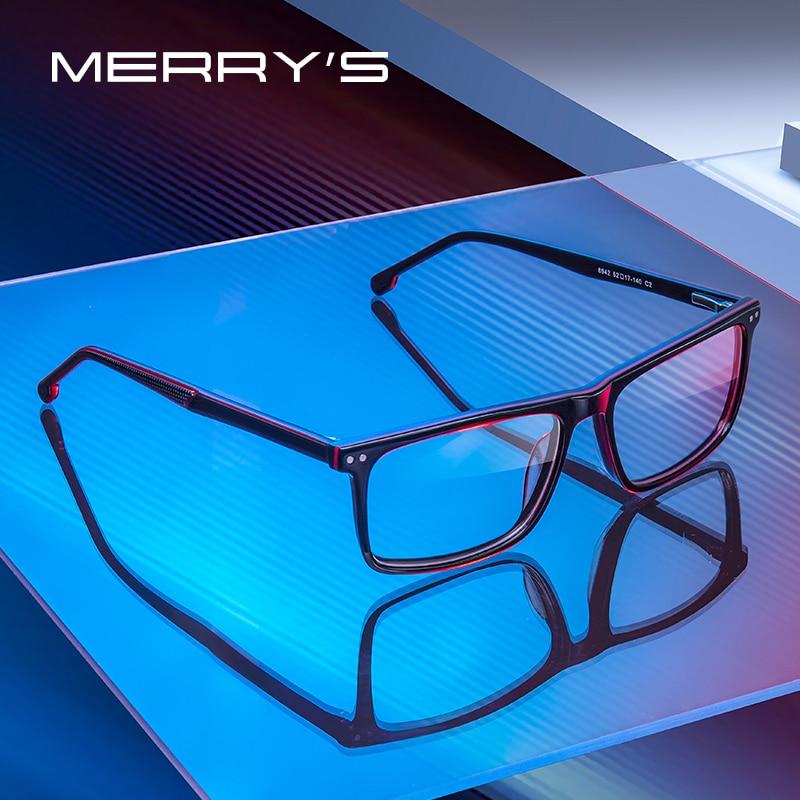MERRYS تصميم الرجال نظارات بمادة الخلات إطار مربع البصرية إطار الفاخرة وصفة طبية إطارات النظارات البصرية S2942