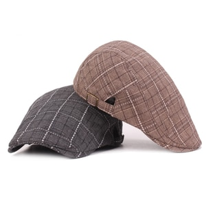 Plaid Golf Caps For Men Casual Vintage Newsboy Hat Vacation Summer Outdoor Cap Punk Rock Sports Hiking Camping Hats 2021