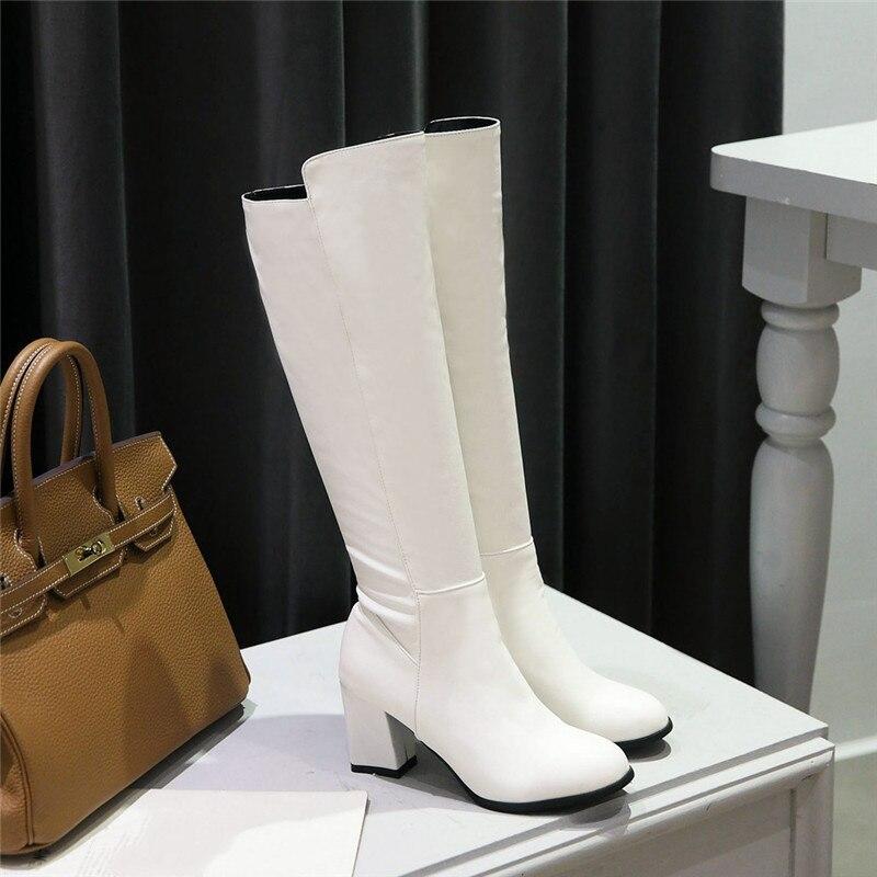 YMECHIC moda blanco negro elástico Pu cuero bloque alto tacón hasta la rodilla botas mujeres Otoño Invierno Mujer Zapatos bota larga elegante