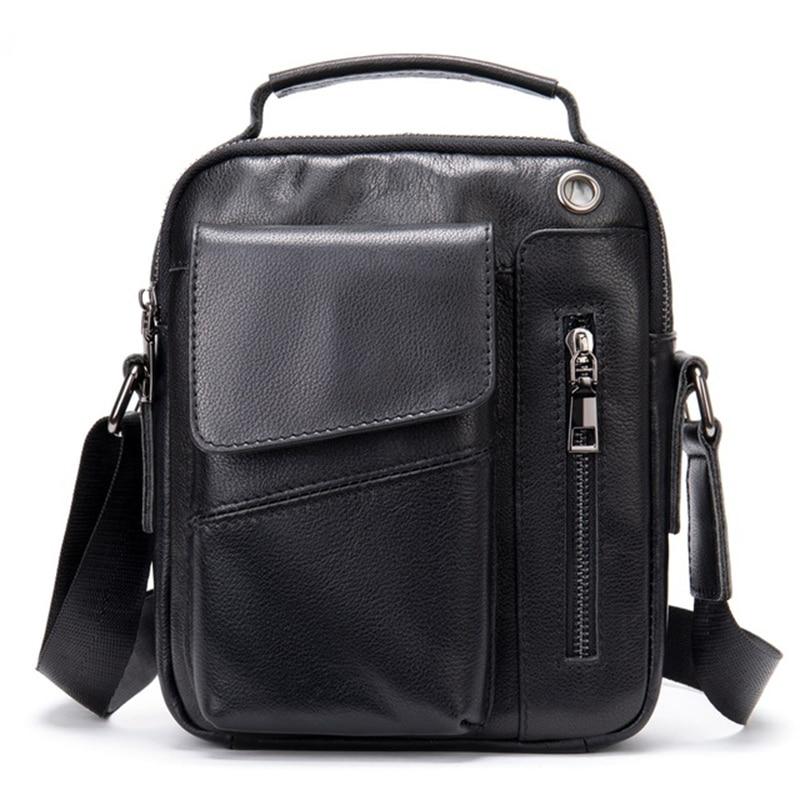 Men's Bags Cow Genuine Leather Male Shoulder Bag Man Messenger Handbag Flap Zipper Casual Crossbody Packet Cowhide Real Leather