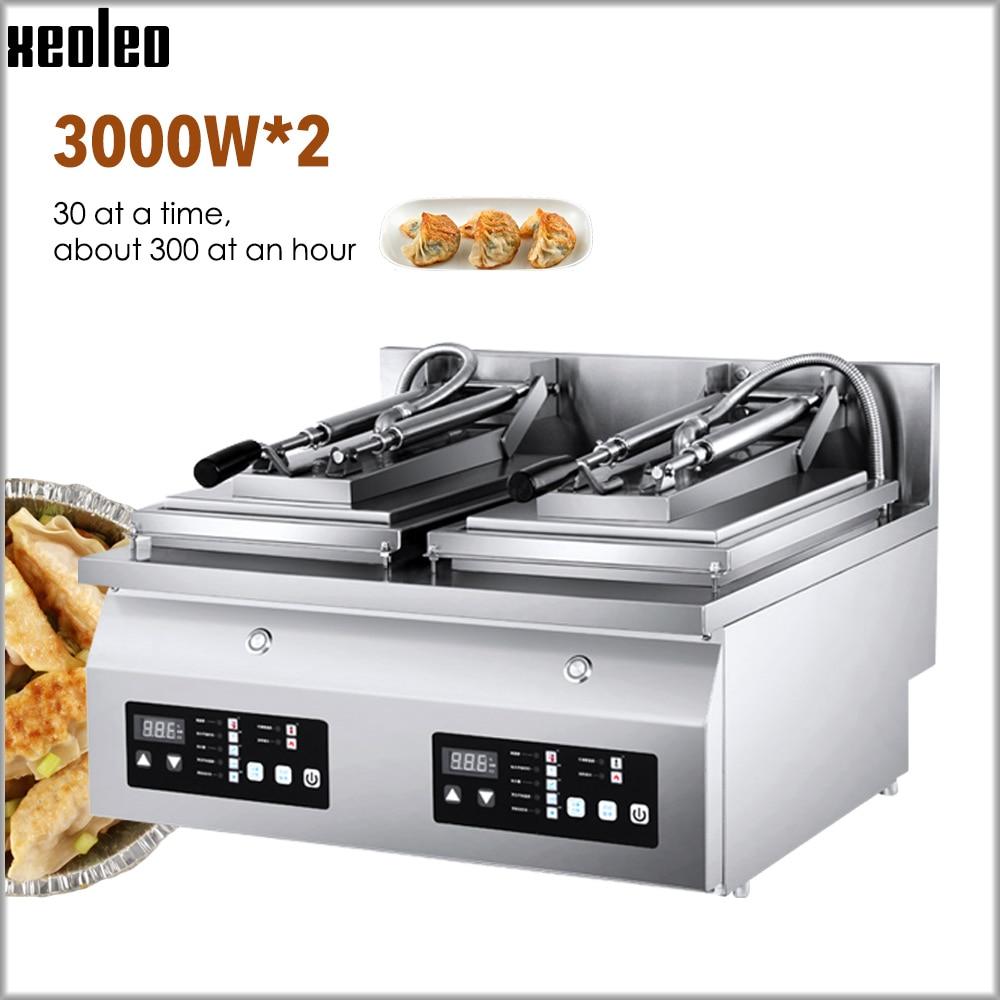 Freidora de dumplings XEOLEO, freidora de dumplings, freidora de bollos fritos, máquina comercial de sartén doble eléctrica, control inteligente 3000W * 2