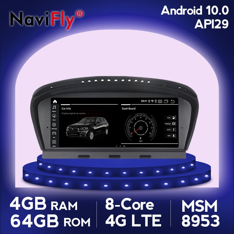 Navegador gps IPS 8Core Android 10 para BMW 5 Series E60 E61 E63 E64 E90 E91 CCC CIC máscara volante WIFI