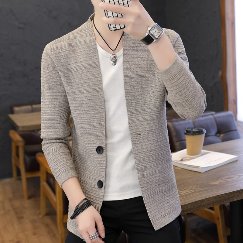 Autumn new men's sweater men's v-neck cardigan sweater coat spring and autumn wild fashion clothes