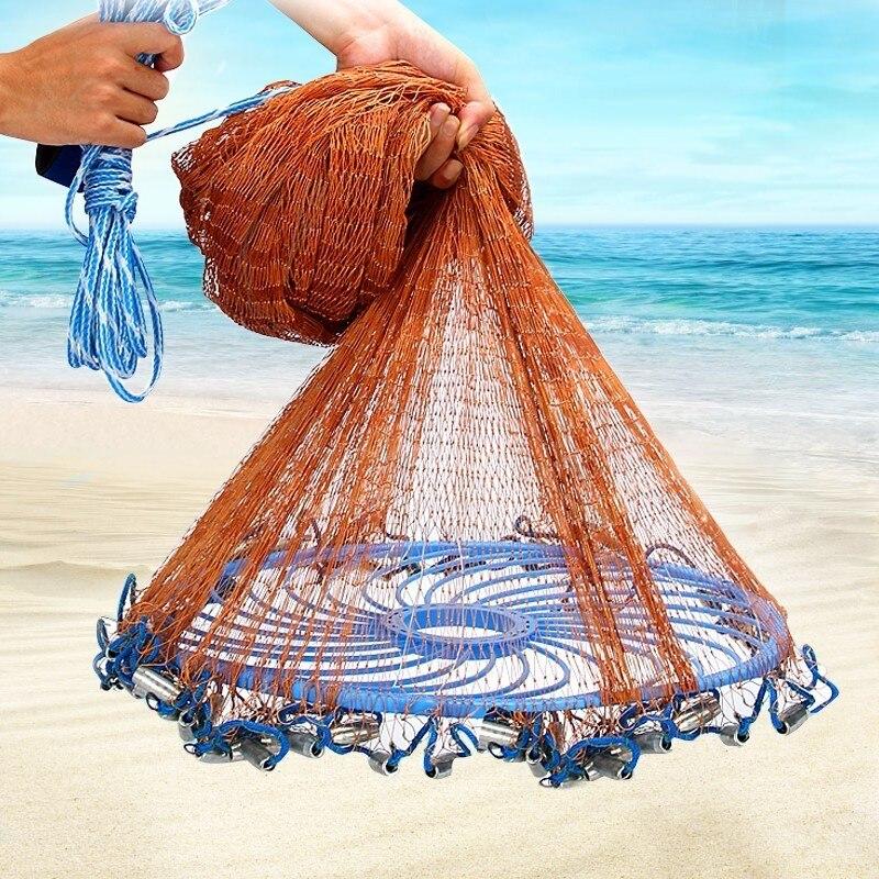 Filet de pêche en eau salée américain pour poisson piège à appâts, rayon 4/6/8/10/12ft, filet de pêche extérieur