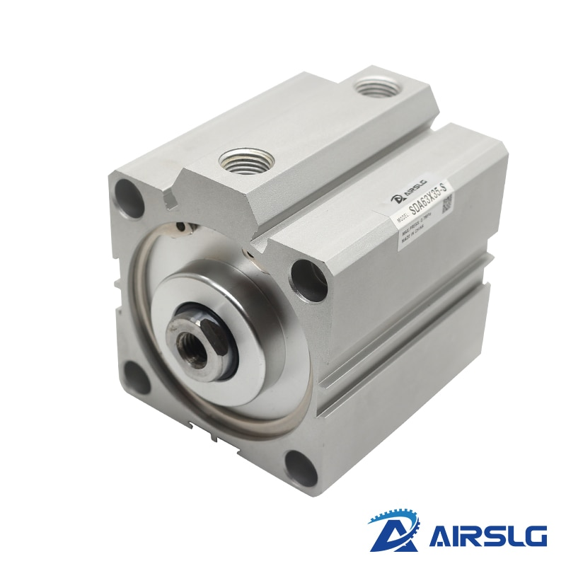 AIRTAC Type air pneumatic cylinder SDA32x50 double acting compact cylinder SDA32 Bore32 mm stroke 5-100mm female /male thread sda cylinder compact pneumatic air 20mm bore 5 100mm stroke sda20 pneumatic double acting cylinder air piston cylinder sda20 25