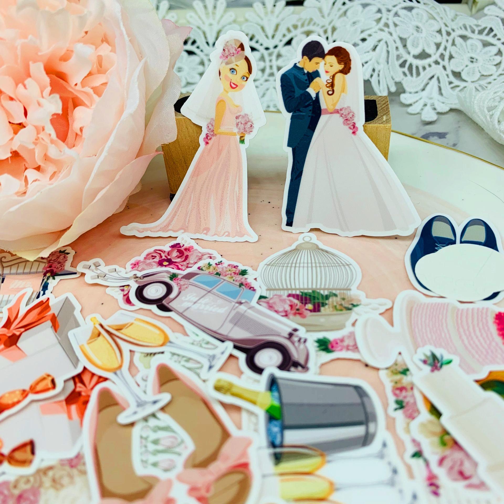 Paquete de 30 unidades de pegatinas de amantes para boda, álbum de recortes para manualidades DIY, diario, diario, pegatinas decorativas