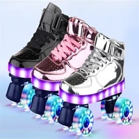 4 wheels flash skates pu roller blade for adult kids usb recharge sneakers roller skates hockey double row pulley shoes women