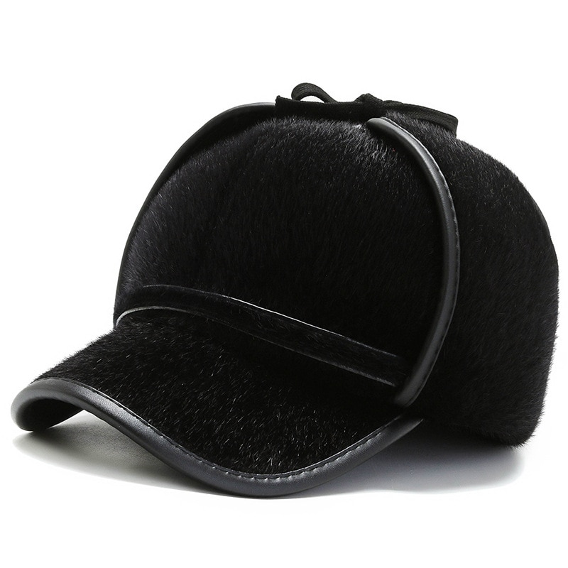 Men Winter Newly outdoor Faux fur Baseball Cap With Earmuff Plus velvet Old man Warm Hat Middle-aged Thickened Snapback Hat L10