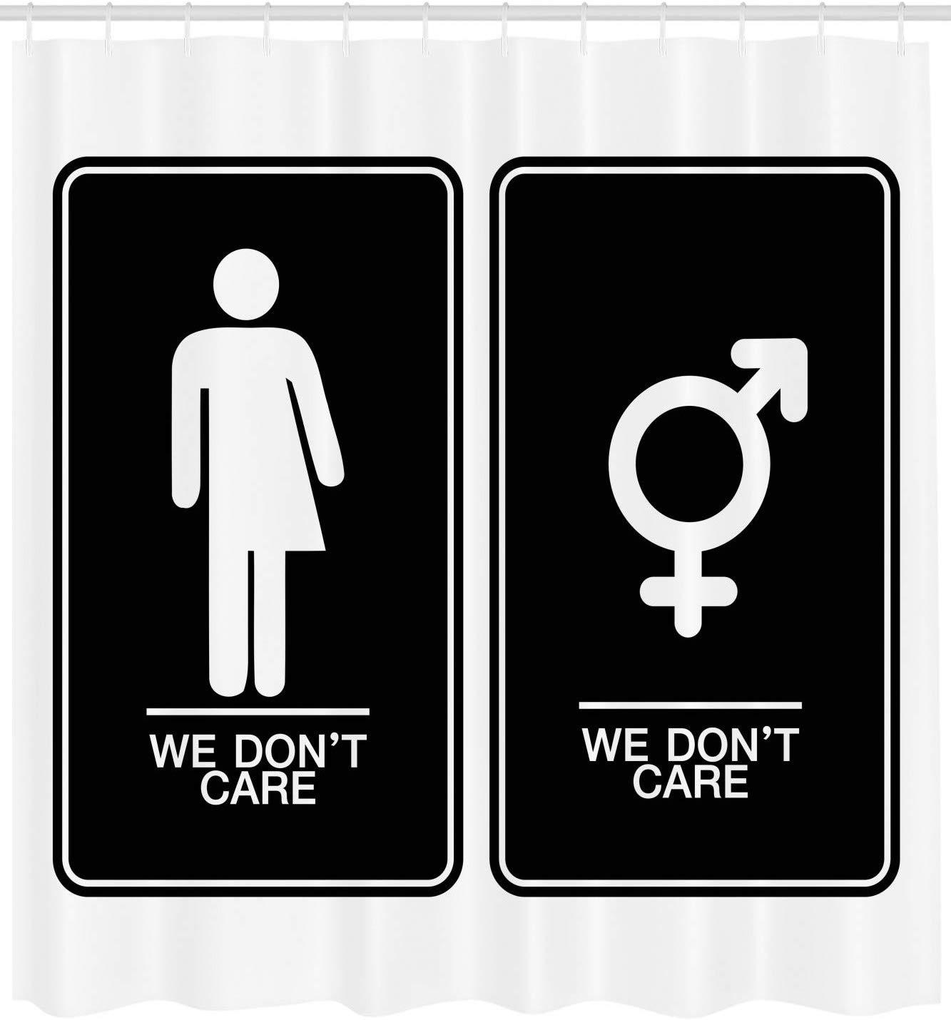 Cortina de ducha Queer no nos importa todo género baño signo transgénero con hombre mujer íconos tema tela baño Decoración