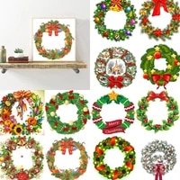 5d diy spot drill diamond christmas crystal wreath kits mosaic art craft rhinestone drawing garland door wall hanging decoration