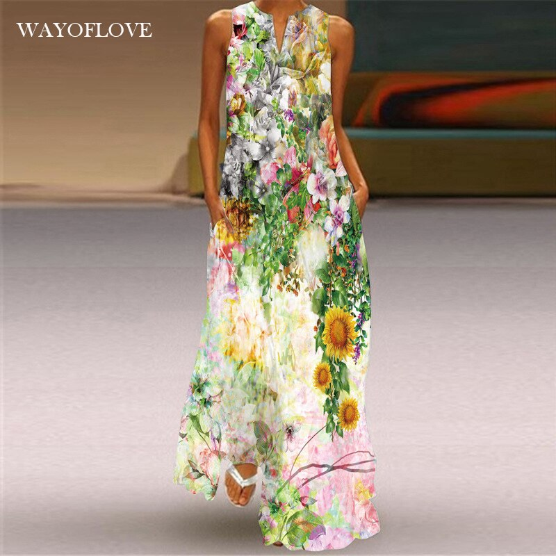 WAYOFLOVE Fashion Holiday Beach Dress 2021 Vintage Casual Plus Size Long Dresses Summer Woman Sleeve