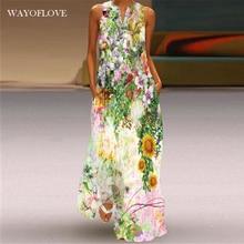 WAYOFLOVE Fashion Holiday Beach Dress 2021 Vintage Casual Plus Size Long Dresses Summer Woman Sleeve