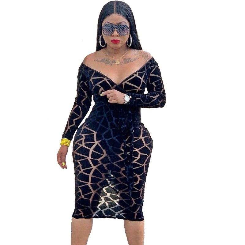 Autumn Sexy Long Sleeve Bodycon Dress Women Print Elegant Off Shoulder Party Dress Night Club wear Midi Sheer Black Mesh Dress