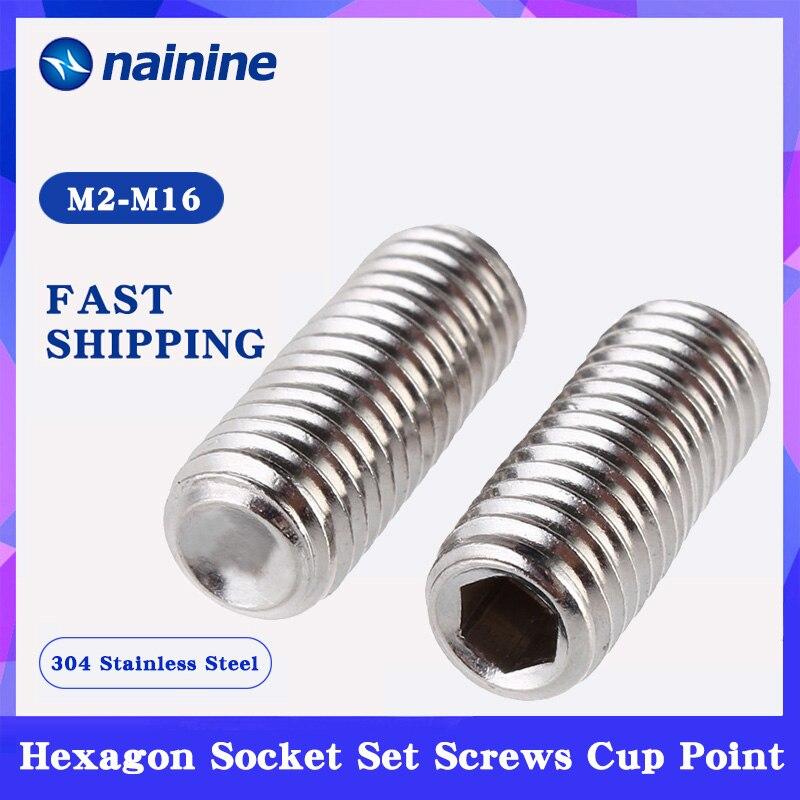 [M2-M16] 304 Stainless Steel Surfboard Fin Screws Inner Hex Cup Point Socket Set Screw DIN916