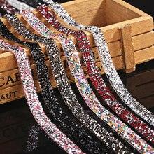 1 Yard couture garniture cristal Motif Strass hotfix Strass ruban applicateur ruban avec Strass fer sur Appliques pour robes