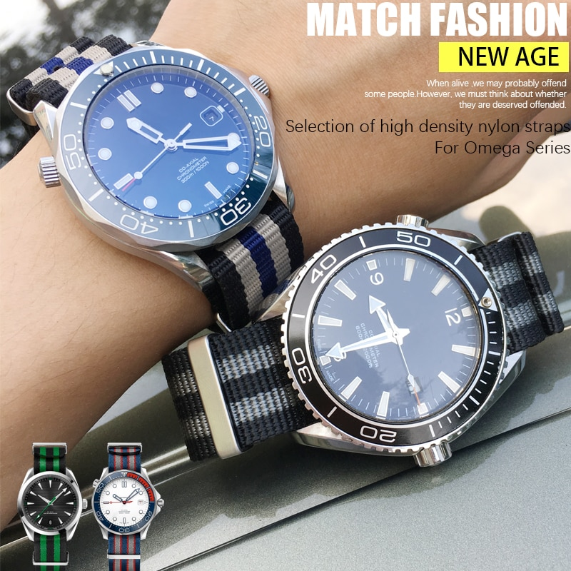 19/20/21/22mm No Fluffing Nylon Nato WatchBand Special For Omega watch Seamaster 007 Commander James