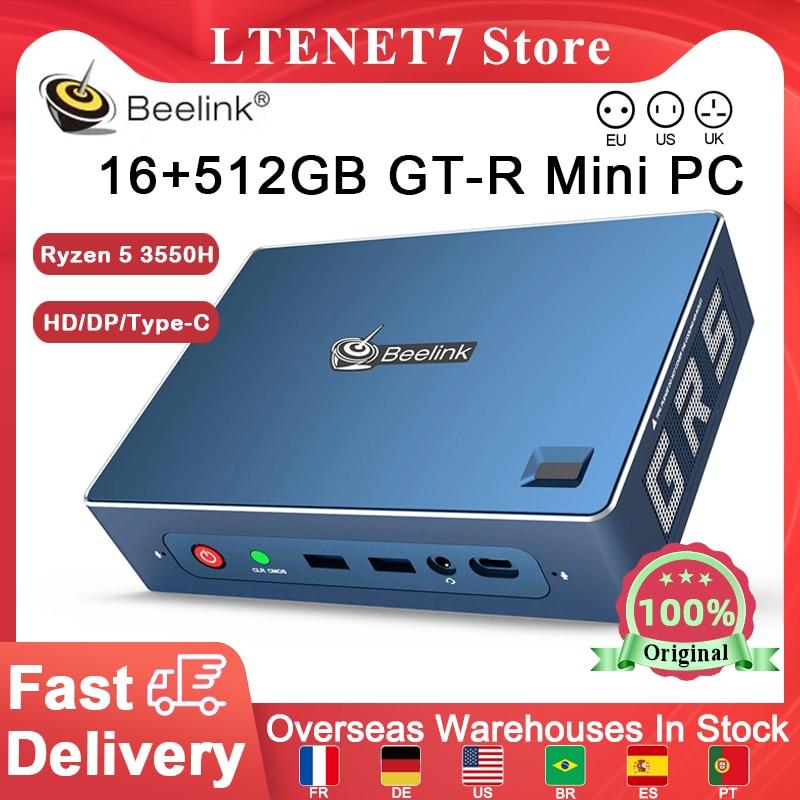 Beelink GT-R Mini PC AMD Ryzen 5 3550H WIFI6 16+512GB SSD Support Windows 10 Voice Interaction Offic
