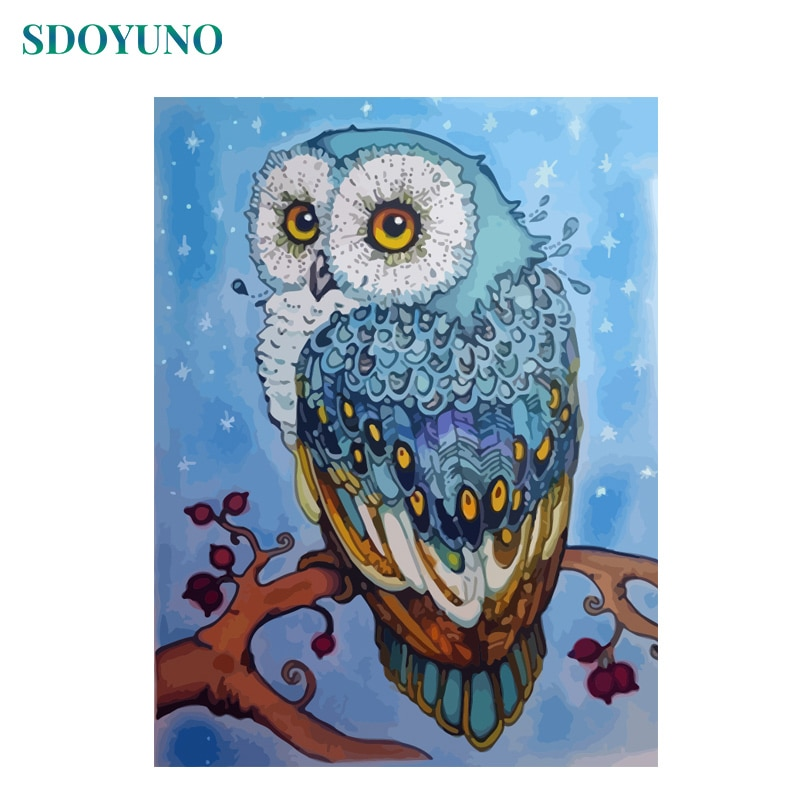 SDOYUNO pintura sin marco por números DIY 60X75cm búho Animales Fotos por número lienzo Digital juego de pintura hogar decoración