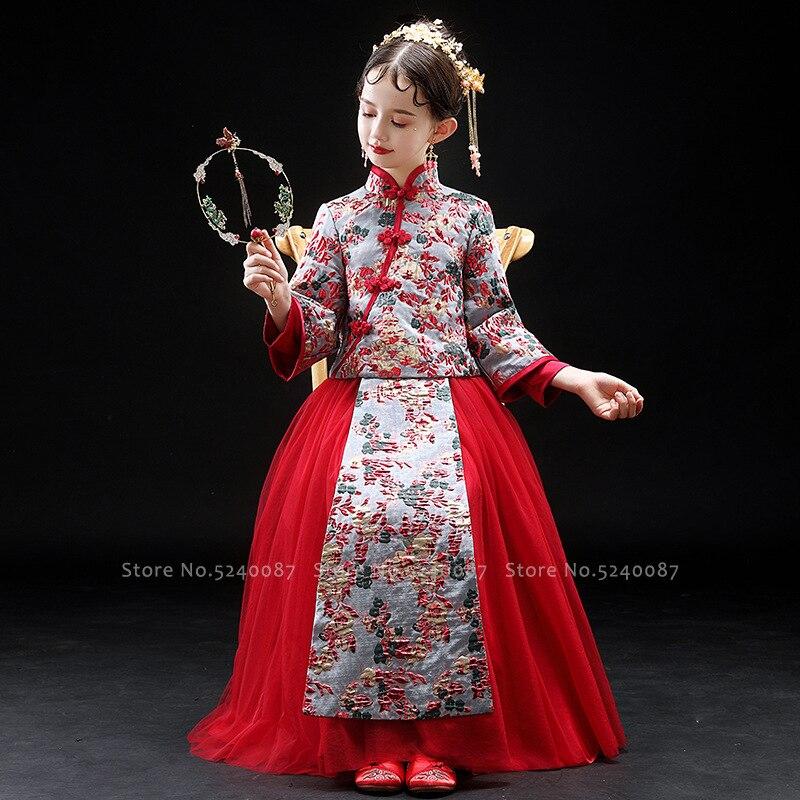 الفتيات شيونغسام تانغ دعوى الأميرة فستان رسمي تشيباو الأطفال السنة الجديدة مهرجان أزياء مسرحية الصينية التقليدية Hanfu