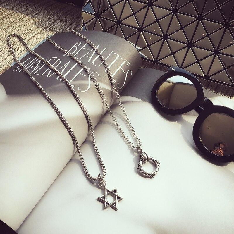 Estilo coreano personalizado anillo de cinco puntas Jersey estrella collar de cadena...