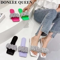 rhinestone slippers fashion brand pleated slides flat casual flip flops summer sandals bling crystal shoes women runway slippers