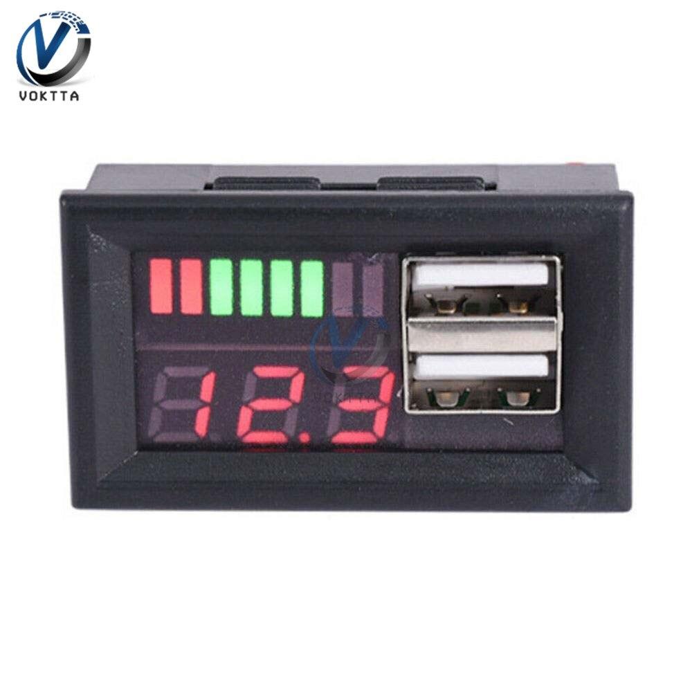BMS 4S 12 В 12,6 в измеритель напряжения индикатор емкости двойной USB 5 в 2A светодиодный цифровой дисплей вольтметр тестер