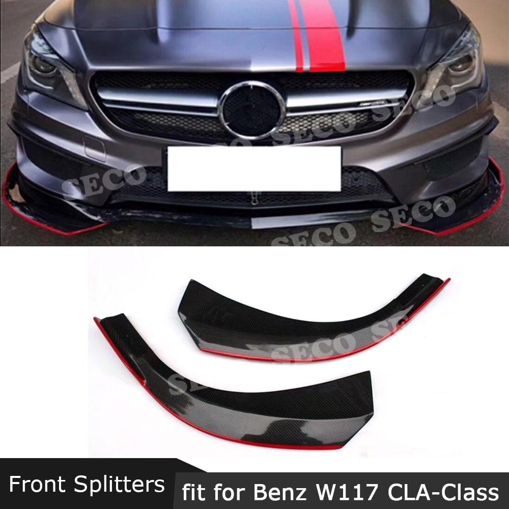 Para W117 fibra de carbono parachoques delantero Splitters de labios para Benz CLA clase W117 C117 CLA250 CLA260 CLA45 2014-2016 Línea Roja 2 uds